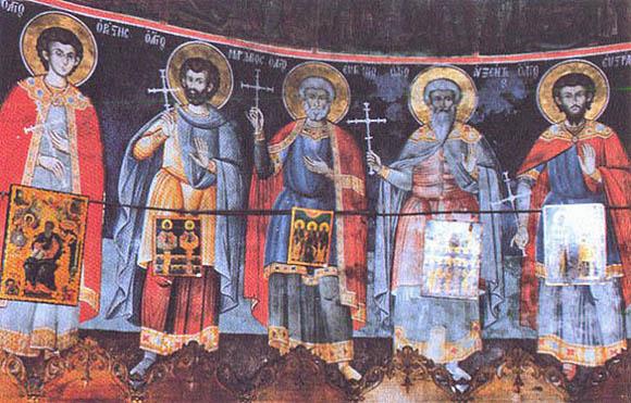 Cei Cinci Mucenici, așa cum sunt zugrăviți în kyriakonul Schitului Sfintei Ana