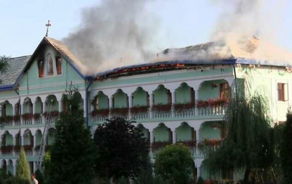 Manastirea Banceni incendiu