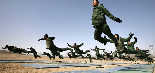 Paramilitary policemen attend a training session at a military base in Yinchuan