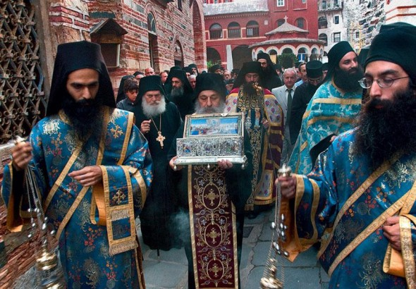 Litanie Sfântul Brâul al Maicii Domnului de la mănăstirea Vatoped