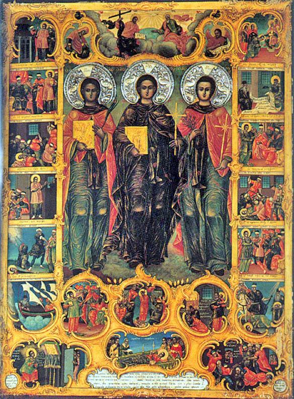 Cuvioșii Noii Mucenici Ignatie, Eftimie si Acachie, icoană de Schitul Înaintemergătorului de la Mănăstirea Iviron