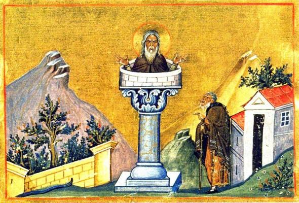 Sfântul Daniil Stâlpnicul – Miniatură din Minologhionul Împăratului Vasile al II-lea